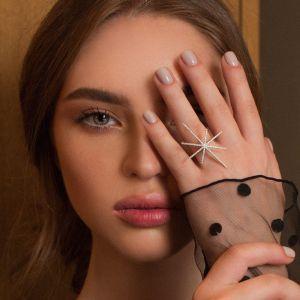 Diamond snowflake  gold ring
