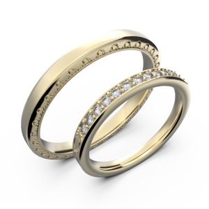 Yellow gold and diamond couple wedding rings