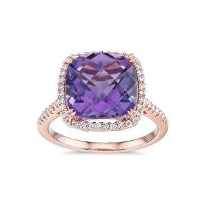 Cushion cut amethyst and diamonds ring