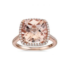Cushion cut morganite ring with diamonds