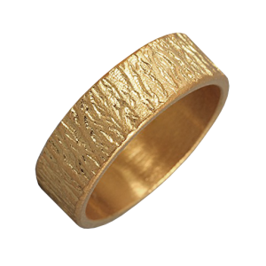 Men woodgrain textured gold ring