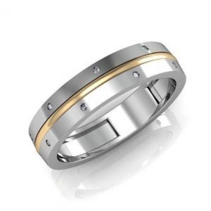 Modern gold wedding band for him