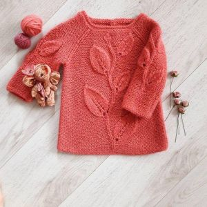 "Knitted sweater for girl ""Gentle Leaves"""