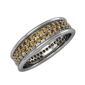 Wedding band with cognac diamonds