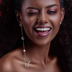 Asymmetric long chain earrings