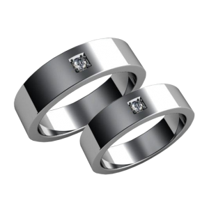 A pair of diamond wedding bands