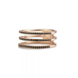 Triple pave ring with black diamonds