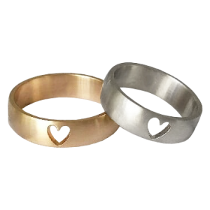 Wedding bands with hearts
