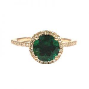 Green topaz halo ring