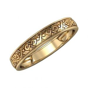 Gold wedding ring with ornament
