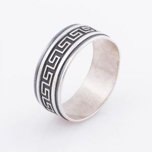 Abstract geometric ring for men