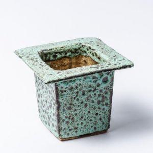 Blue cube pot for plants