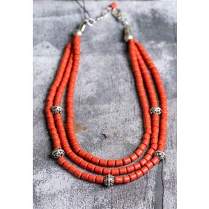 3 rows ethnic natural clay necklace