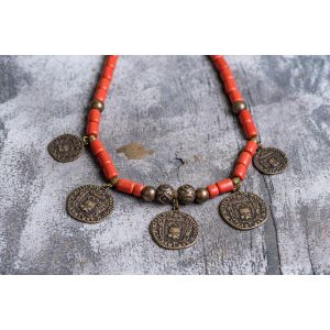 Tribal ethnic natural clay necklace