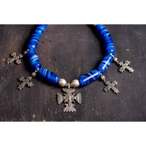 Ethnic blue glass beaded necklace with cross