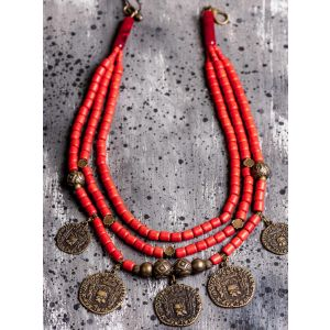 Ethnic coin clay necklace