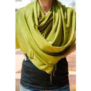 Dark pistachio pashmina wool shawl