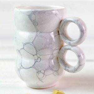 Gray bubbles ceramic cup