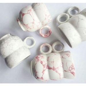 Pink bubbles ceramic mug