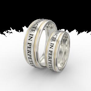 Gold engraved ring band set