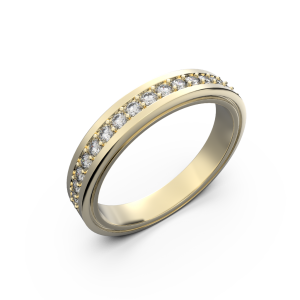 Diamond wedding band for women in yellow gold 0,235 carat