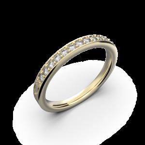 Yellow gold diamond wedding band for her 0,161 carat