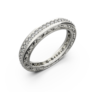 White gold and diamond wedding band for women