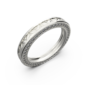 White gold wide wedding band for him and her