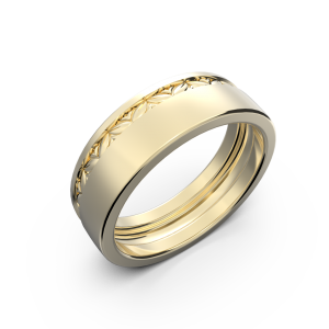 Yellow gold wide wedding band without diamonds