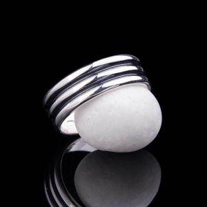 Two srtipes silver ring for men