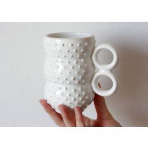 White spiky ceramic cup