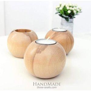 """A set of 3 wooden candlesticks """"Three balls"""""""