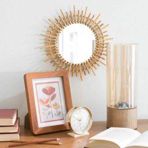 Bamboo rattan mirror