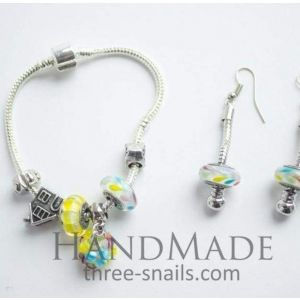 """Bead bracelets and earrings set """"Spring bunch of flowers"""""""