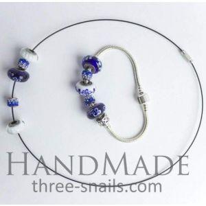 "Bead bracelets and necklaces set ""Heavenly expanse"""