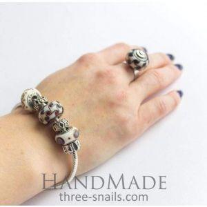 "Beaded bracelets and rings set ""Dominoes"""
