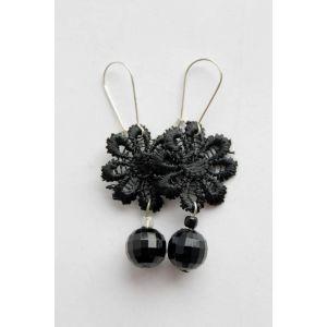 "Beaded earrings ""Night flower"""