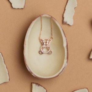 Bear diamond necklace pendant