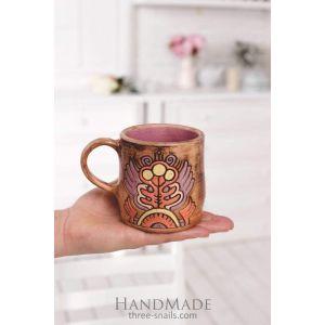 "Big coffee mug""Stylized flower"""