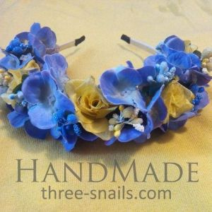 Bling hair accessories. Flower headband «Patriot of Ukraine»