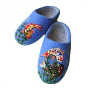 "Blue felted wool slippers ""Koi fish"""
