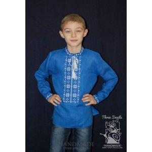 """Blue linen shirt for boy """"Neon sky"""""""