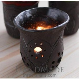 "Candleholder and ceramic cups set ""Darkness"""