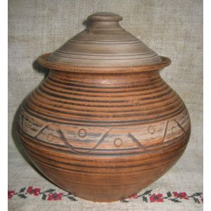 "Ceramic pot for cooking  ""Red sunset"""
