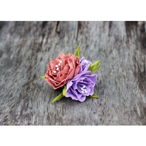 Cool hair accessories with flowers. Barrette «Flower field»