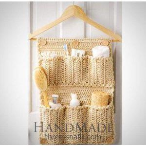 Crochet hanging storage bag for bathroom