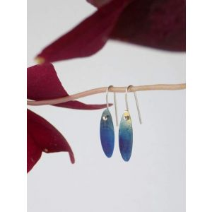 "Dangle earrings silver leaves  ""Sky and sun"""