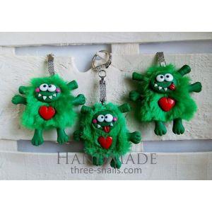 """Designer keychains """"Green Creature"""""""