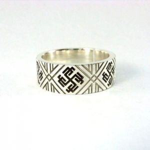 Designer ring. Chunky silver ring with Slovanic symbol