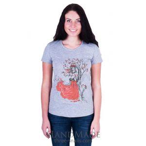 Designer woman clothes. T-shirt  «Guelder rose» (grey)